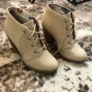 Call it spring cream canvas lace up booties 8